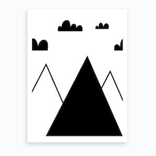 Scandi Black Mountains And Clouds Art Print