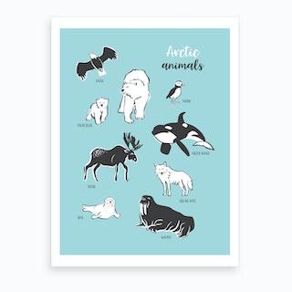 Arctic Animals Blue Art Print