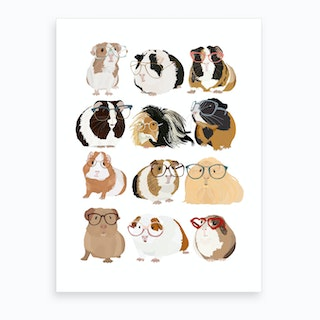 Guinea Pig With Glasses Art Print