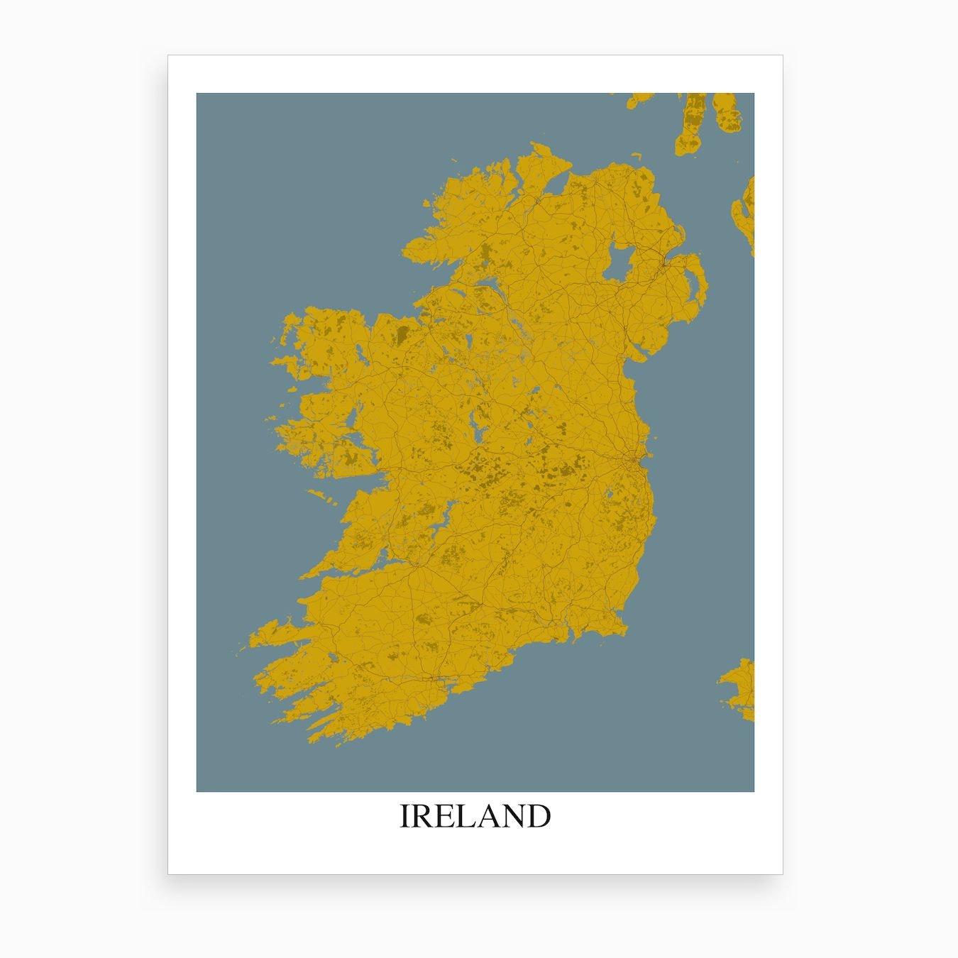 Print Map Of Ireland.Ireland Yellow Blue Map Art Print By Mapply Fy