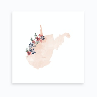 West Virginia Watercolor Floral State Art Print