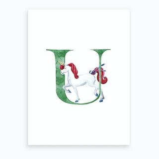 U Unicorn Magic Art Print