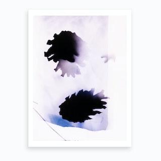 Blue White & Purple Pine Cones Abstract Botanical Art Print