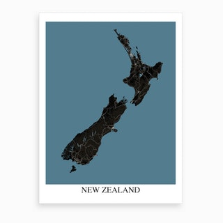 New Zealand Black Blue Map Art Print