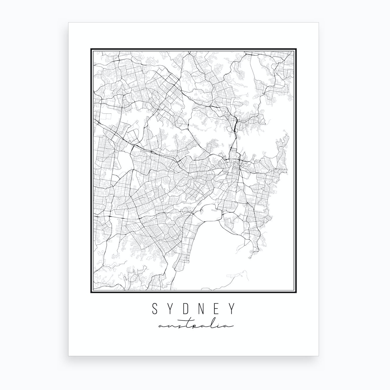 Australia Map Art.Sydney Australia Street Map Art Print