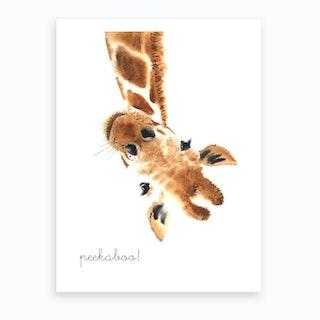 Peekaboo Giraffe Art Print
