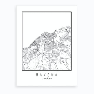 Havana Cuba Street Map Art Print