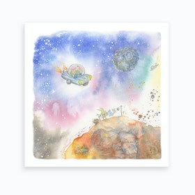 Mosspiglets In Space Art Print