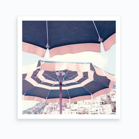 Positano Umbrella Art Print