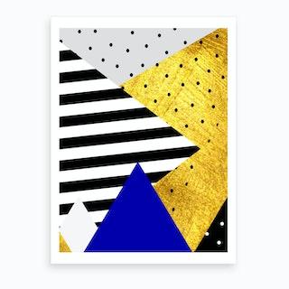 Gold Abstract Blue Art Print
