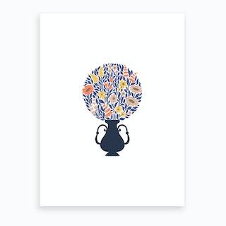 Bouquet Ball Blue Art Print