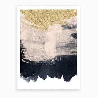 Gold Baby Pink And Dark Blue Paint Strokes Art Print