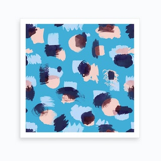 Abstract Stains Blue Art Print