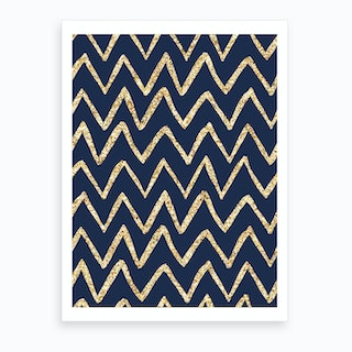 Royal Blue with Gold Zig Zag Abstract Art Print