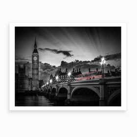 London Westminster Bridge At Sunset Art Print