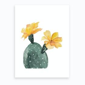 Botanical Illustration Yellow Cactus Flowers Art Print