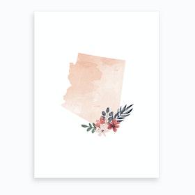 Arizona Watercolor Floral State Art Print
