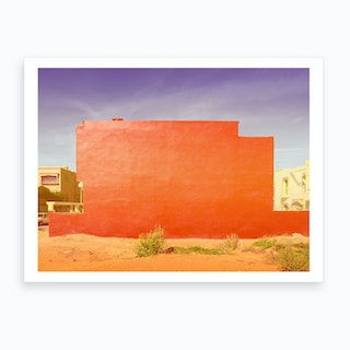 Red Abstract House Art Print