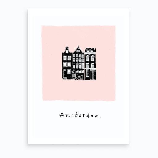 Amsterdam In Rose Art Print