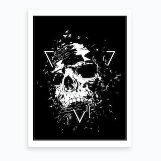 Skull X Black And White Art Print