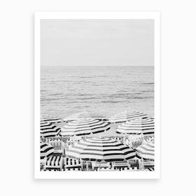 French Riviera Black And White Art Print