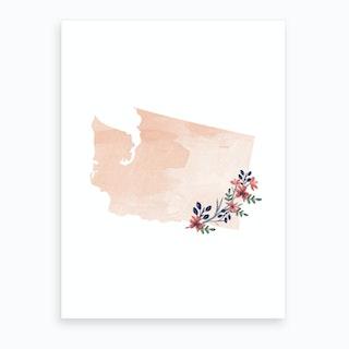 Washington Watercolor Floral State Art Print
