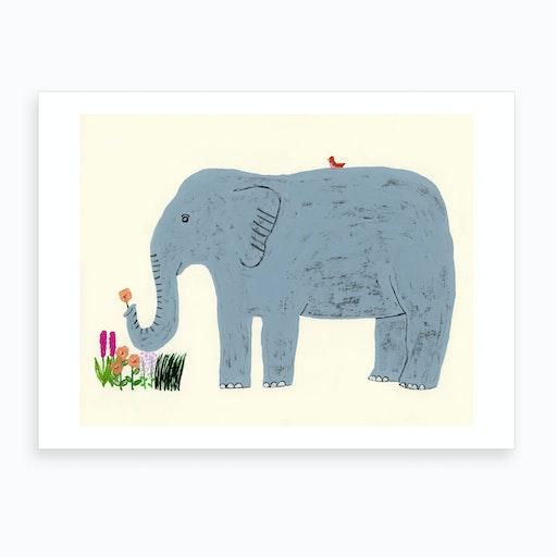 Elephant And Flowers Art Print