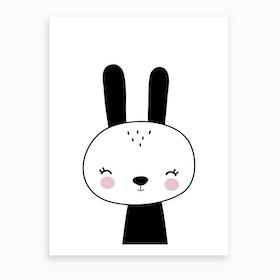 Scandi Black Bunny Art Print