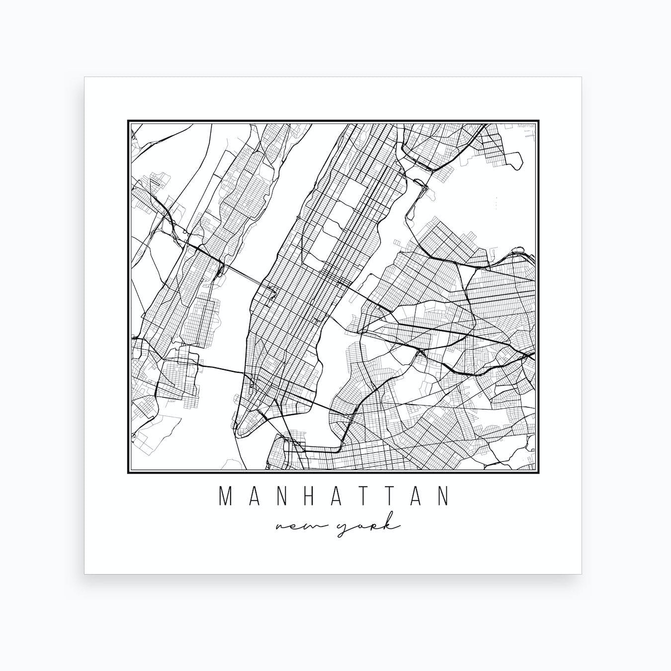 picture regarding Printable Map of New York State named Manhattan Fresh new York Road Map Artwork Print