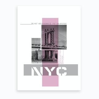 Poster Art Nyc Manhattan Bridge & East River Pink Art Print