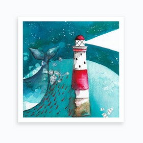 Whalewith Lighthouse Art Print
