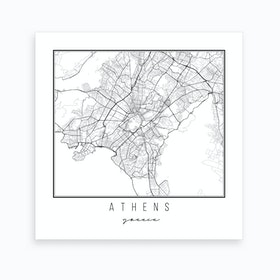 Athens Greece Street Map Art Print