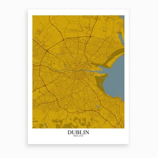 Dublin Yellow Blue Map Art Print