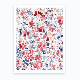 Colorful Flowers Petals Blue Art Print