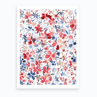 Colorful Flowers Petals Blue Art Print