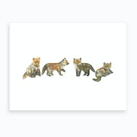 Fox Cubs Art Print