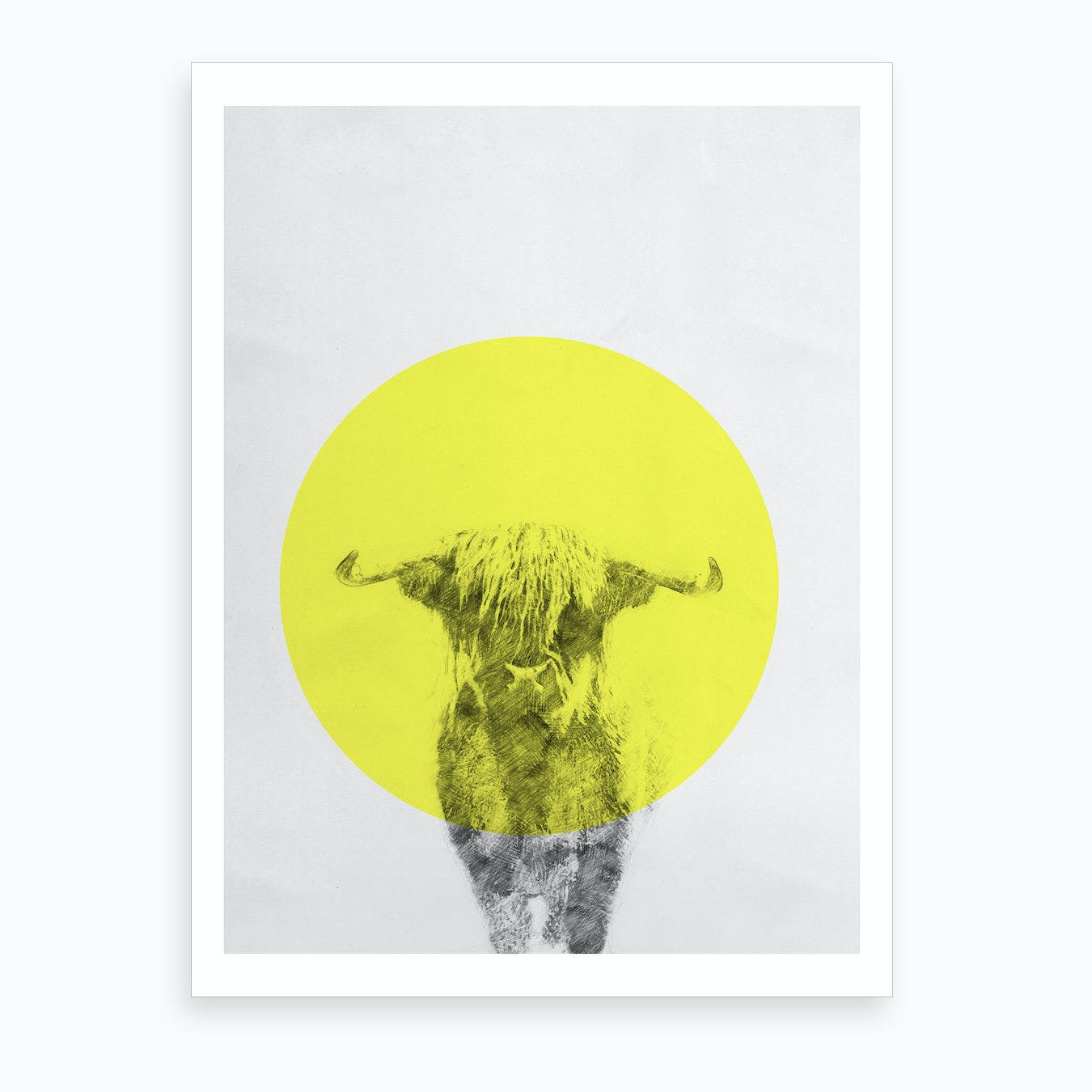 Cow On Paper Art Print
