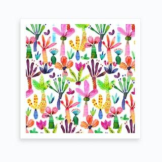Palms Kids Garden Square Art Print