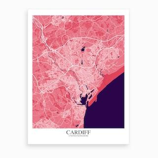 Cardiff Pink Purple Map Art Print