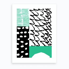Abstract Green And Black Art Print