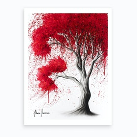 Scarlet Fall Tree Art Print