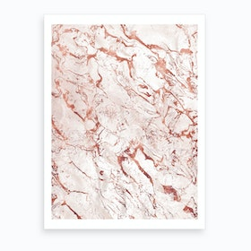 White Rose Gold Marble Art Print