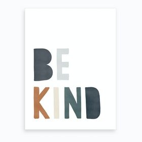 Be Kind Quote  Navy & Brown  Art Print