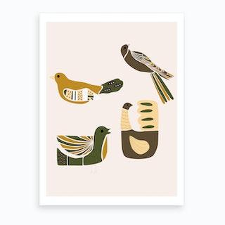 Folkie Elegant Birds Art Print