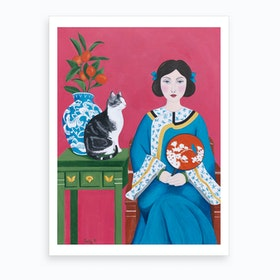 Chinese Woman And Cat Art Print