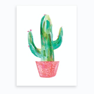 Painted Cactus In Coral Pot Art Print
