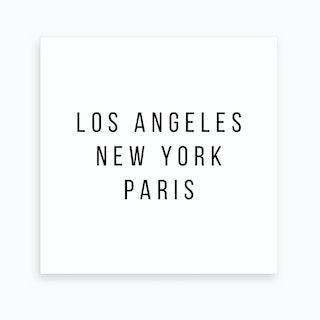 Los Angeles New York Paris Art Print
