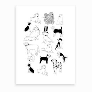 Black And White Dogs Art Print