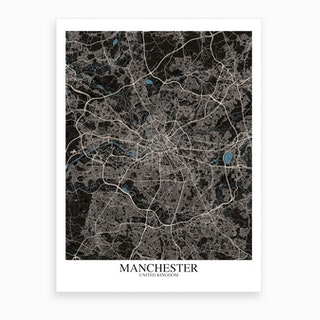 Manchester Black Blue Map Art Print