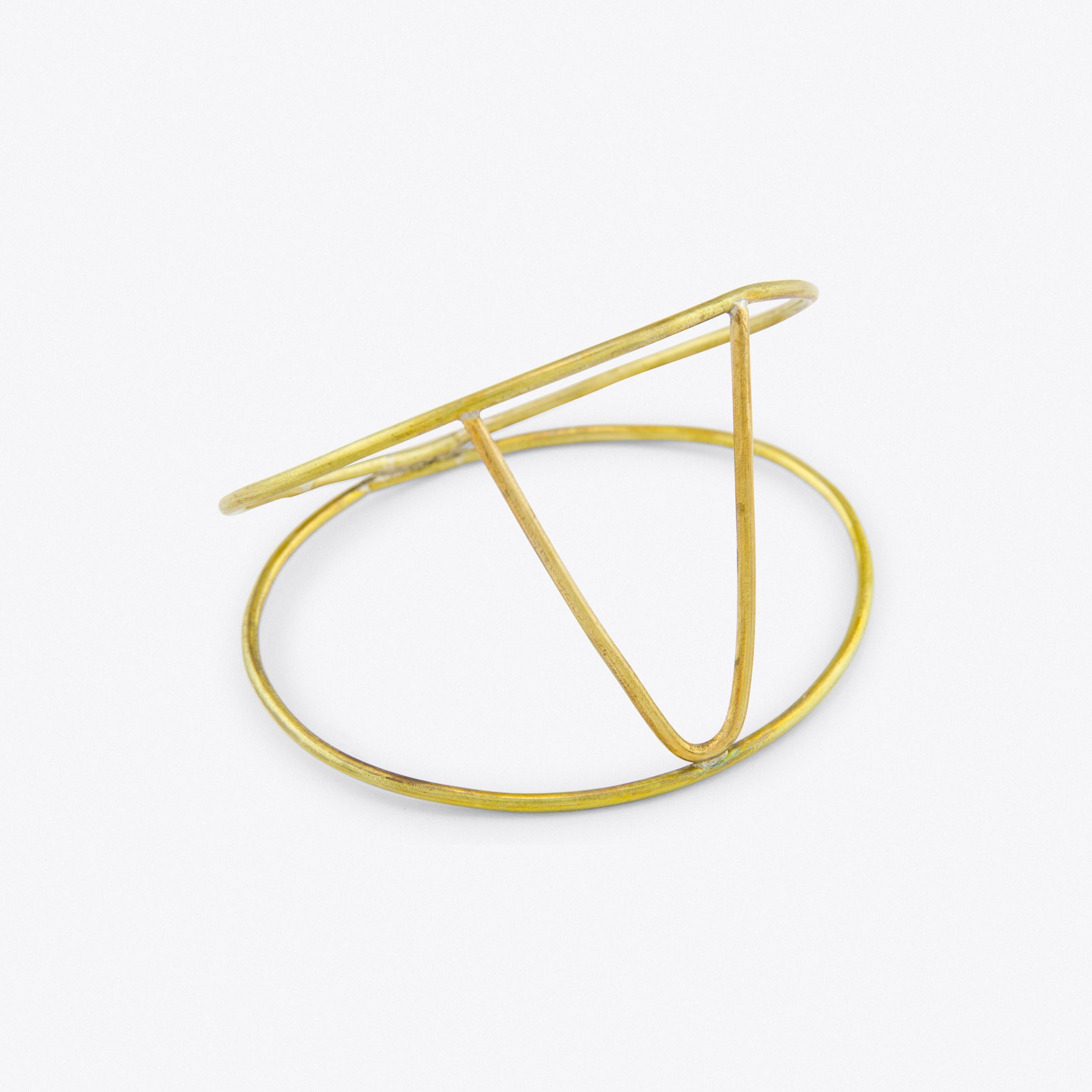 Double V Bangle in Brass